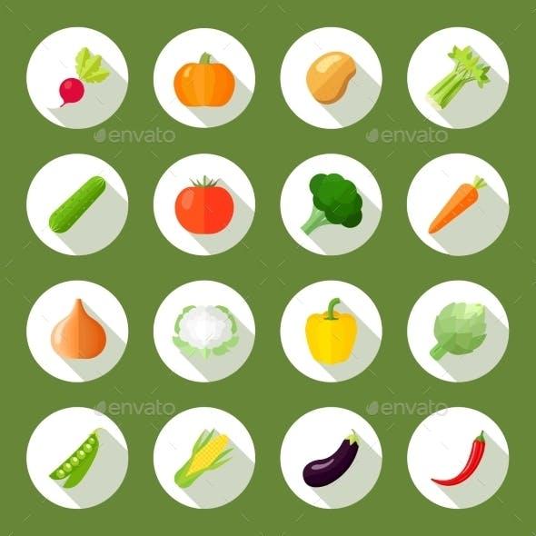 Vegetables Icons Flat Set
