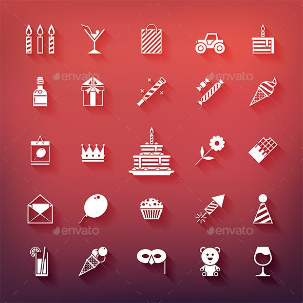 Collection of 25 Birthday Party Icons