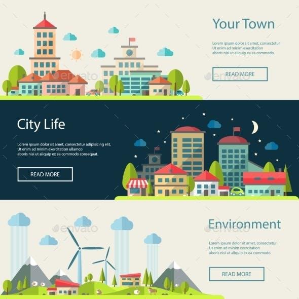 Urban Landscapes Banners Set
