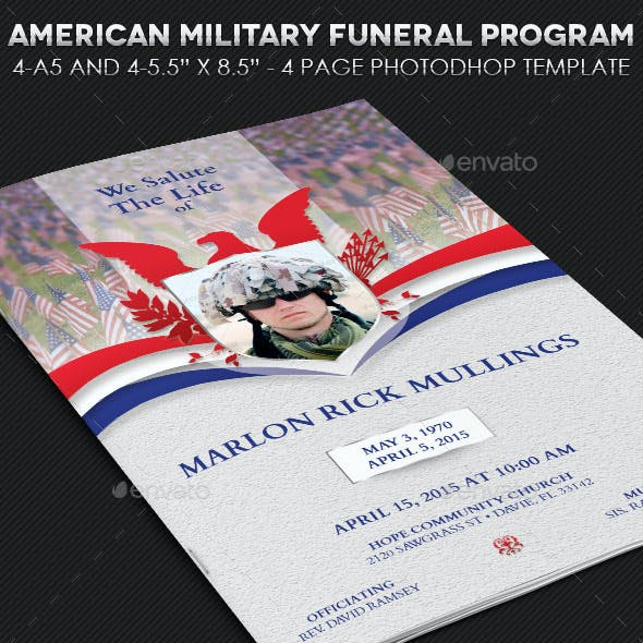 American Military Funeral Program Template