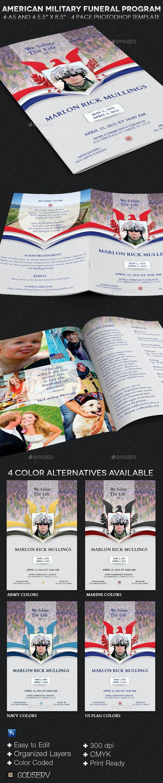 American Military Funeral Program Template - Informational Brochures