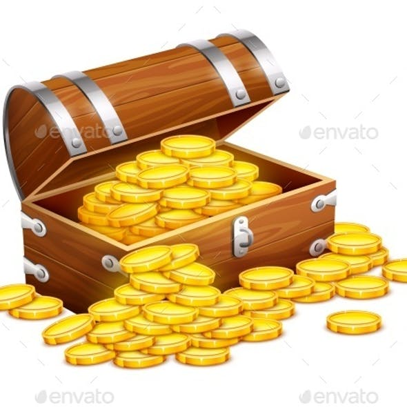 Pirates Trunk Chest Full of Gold Coins
