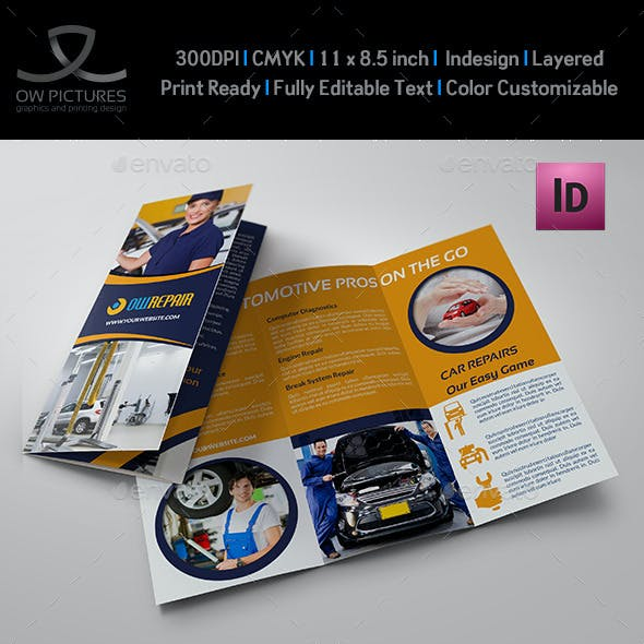 Car Repair Tri-Fold Brochure Template Vol2