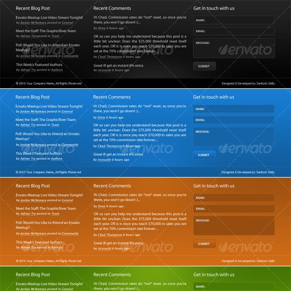 Corporate Footer PSD Design in 4 Colors