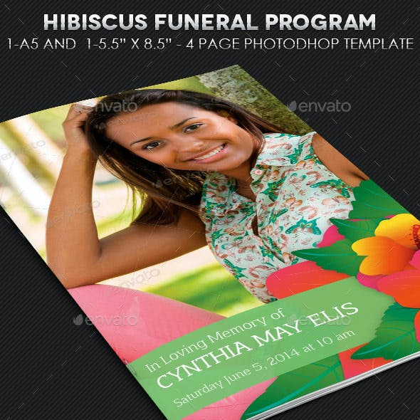 Hibiscus Funeral Program Template