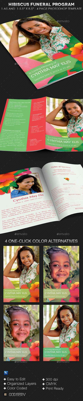 Hibiscus Funeral Program Template - Informational Brochures