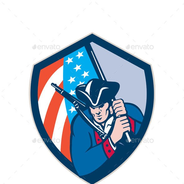 American Patriot Holding Brandish Flag Shield