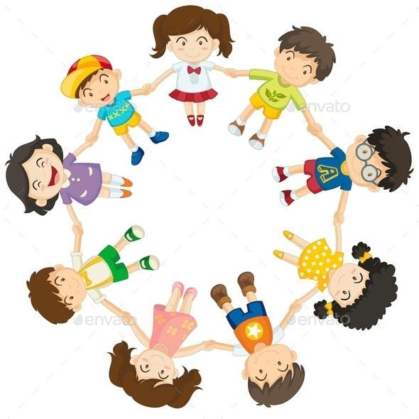 Diverse Kids in a Circle