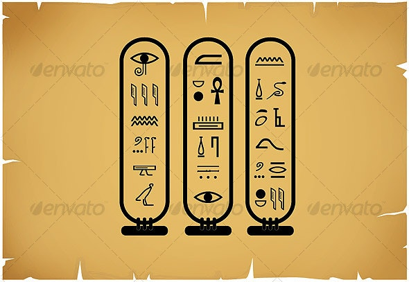 Hieroglyphic Language / Ancient Egypt Civilization - Decorative Vectors