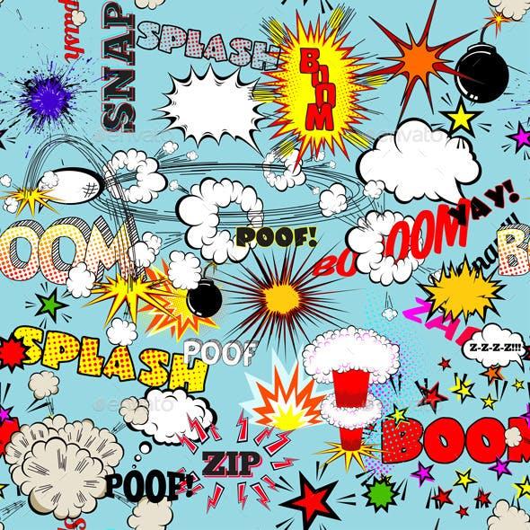 Retro Seamless Pattern with Comic Speech Bubbles