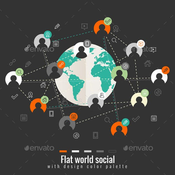 Flat Design Concept with World Social Network