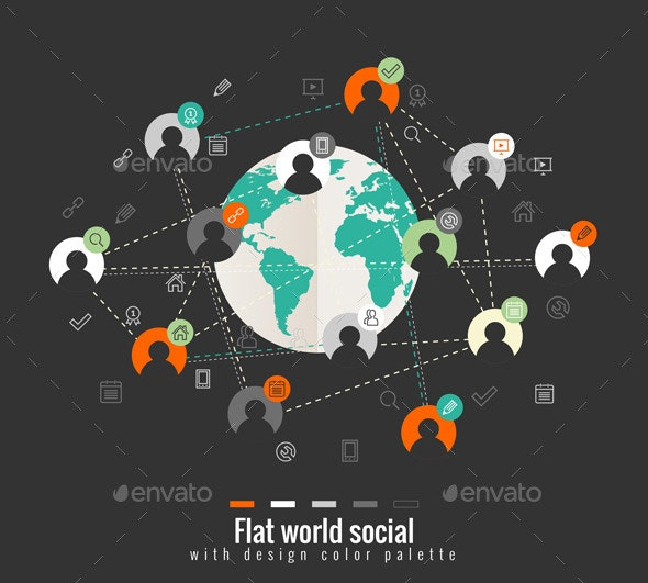 Flat Design Concept with World Social Network - People Characters