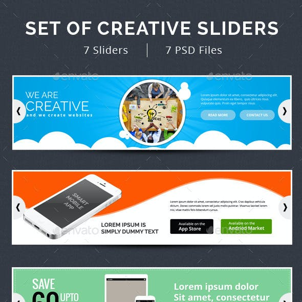 Set of 7 Creative Sliders