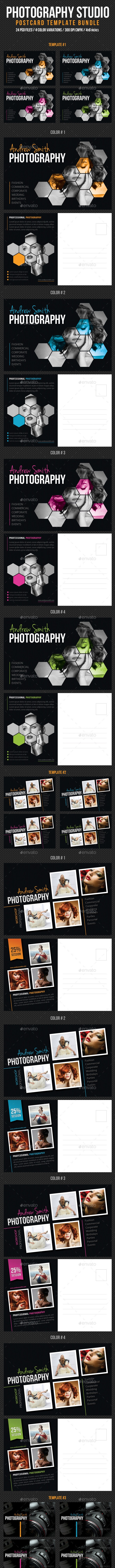 3 in 1 Photography Studio Postcard Template Bundle - Cards & Invites Print Templates
