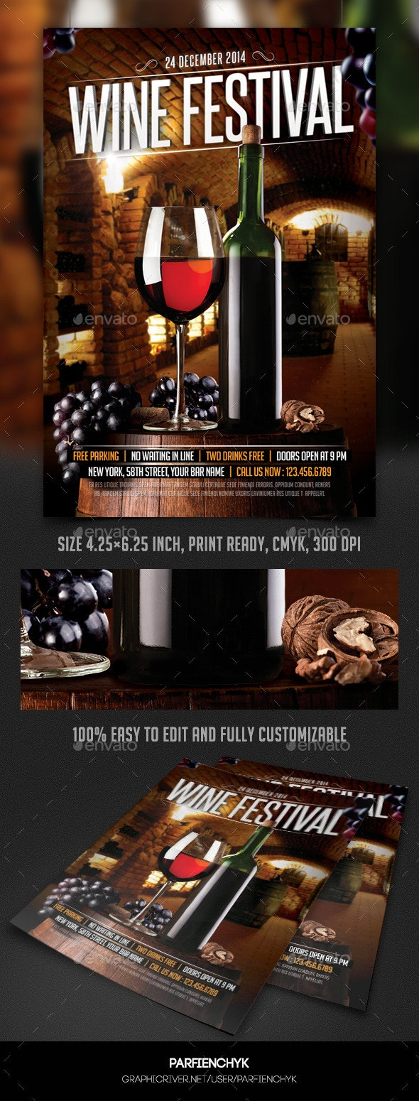 Wine Festival Flyer Template - Events Flyers