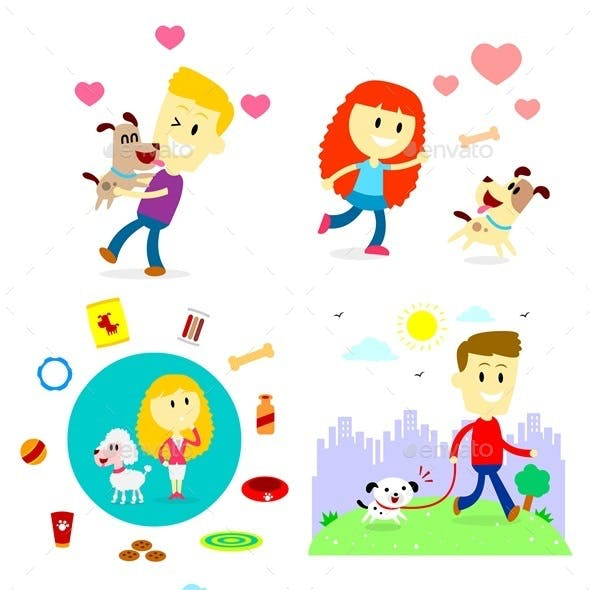 People and Dog Clipart