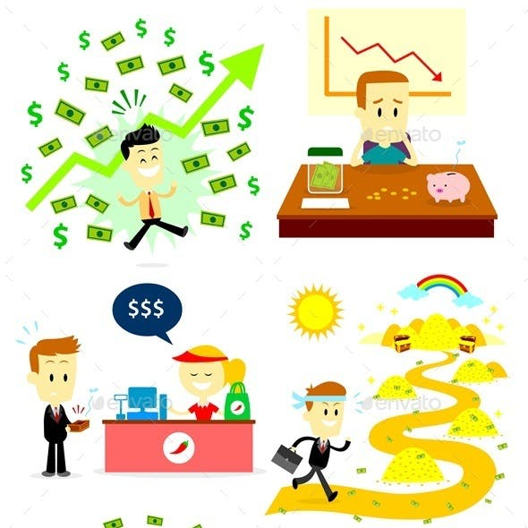 Man and Money Clipart
