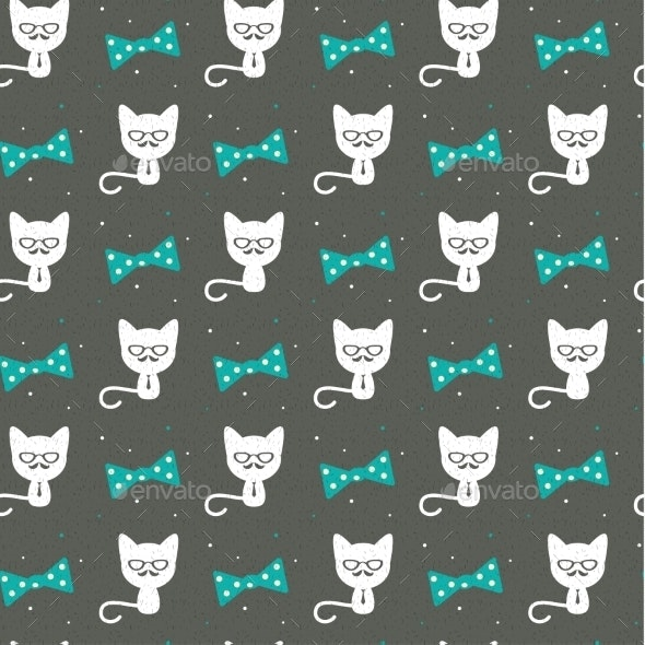 Cat with Bow Pattern - Decorative Symbols Decorative