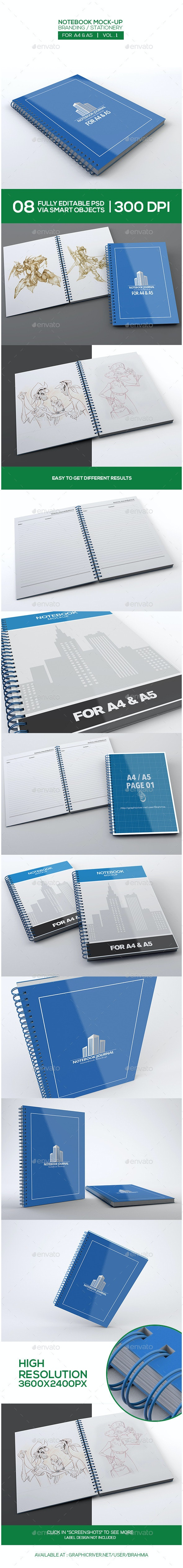 Notebook Mock-Up For A4/A5 - Miscellaneous Print