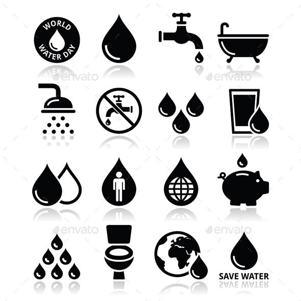 World Water Day Icons - Organic Objects Objects