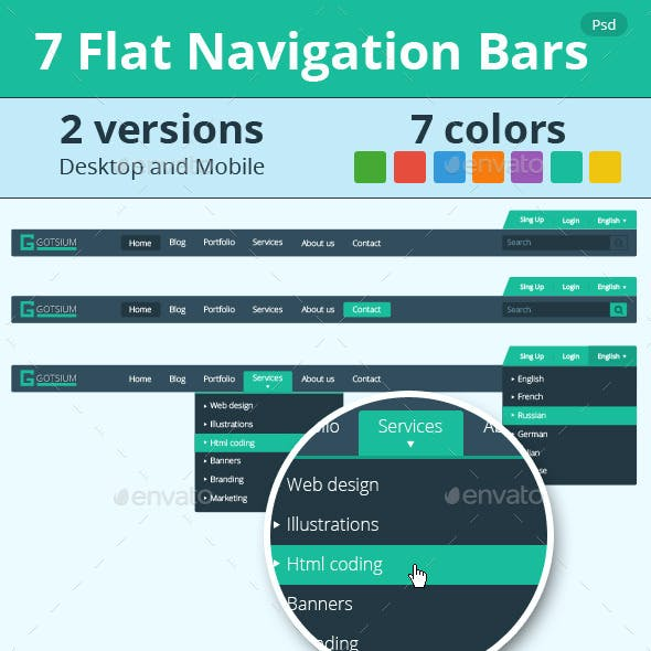 7 Flat Navigation Bars