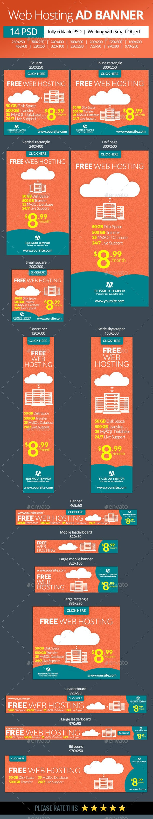 Web Hosting Banners - Banners & Ads Web Elements