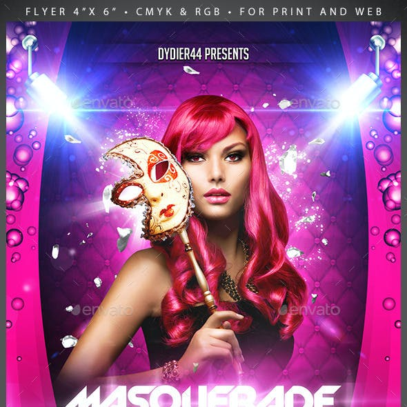 Masquerade The Party  (Flyer Template 4x6)