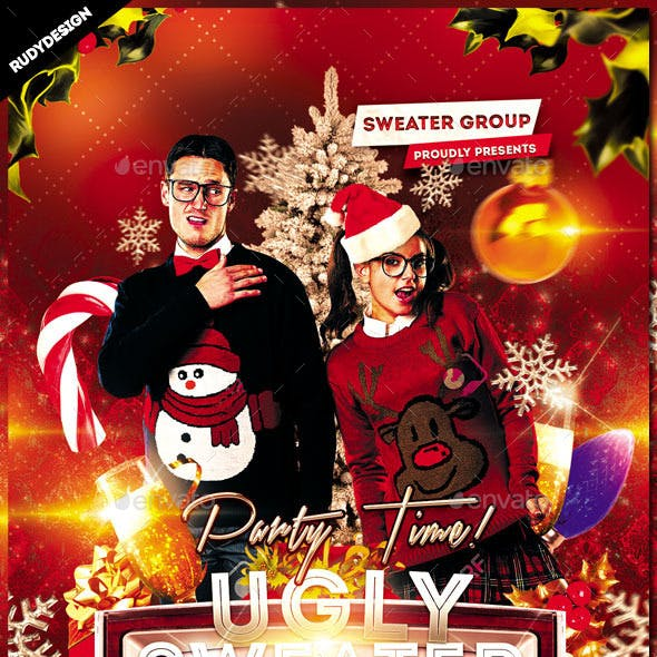 Ugly Sweater Christmas Party Flyer Template