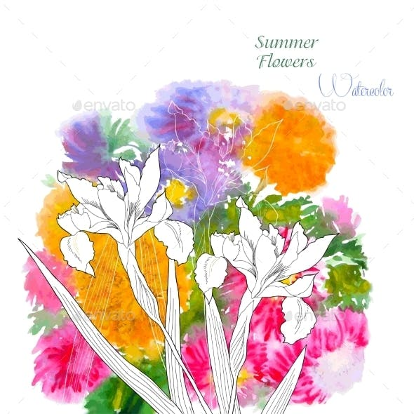 Background with Summer Flowers and Watercolors
