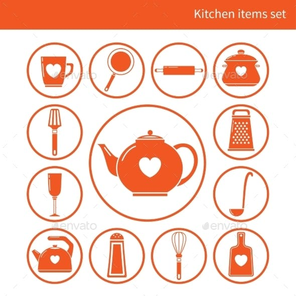 Set Icons of Kitchen Items
