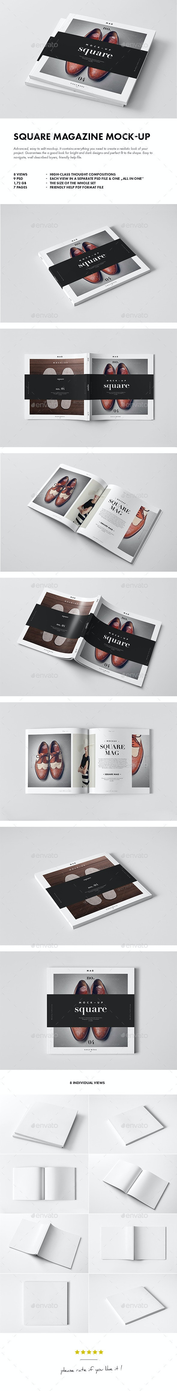 Square Magazine / Brochure Mock-up - Magazines Print