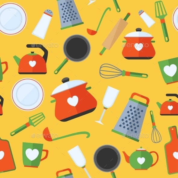 Seamless Pattern with Kitchen Items - Food Objects