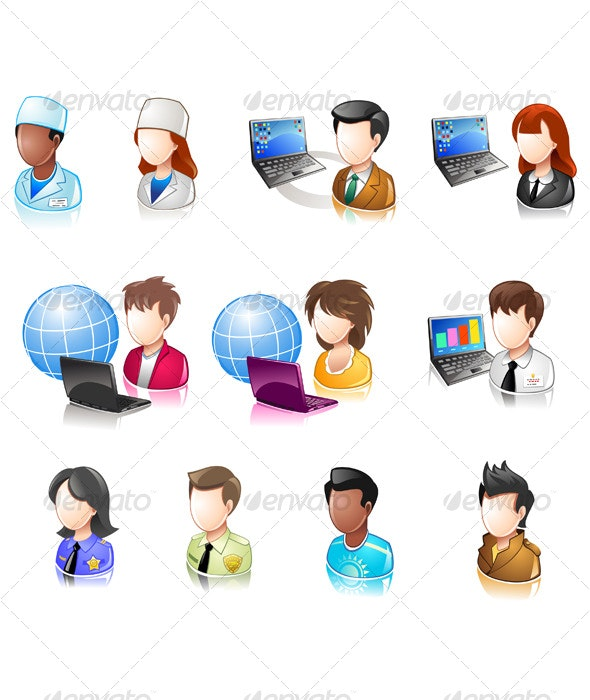 Various People Glossy IconSet - Decorative Symbols Decorative