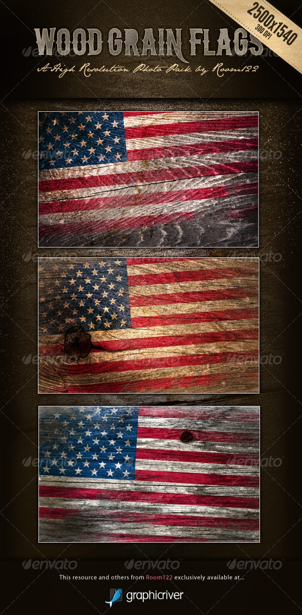 Wood Grain Flags - Backgrounds Graphics