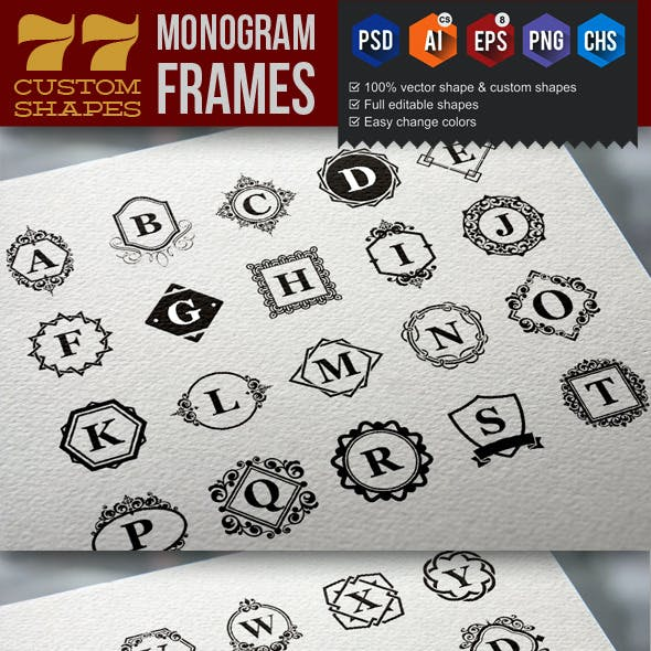 77 Monogram Frame Custom Shapes