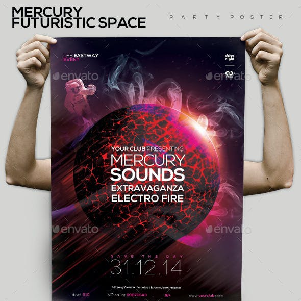 Mercury Futuristic Space Party Flyer/Poster