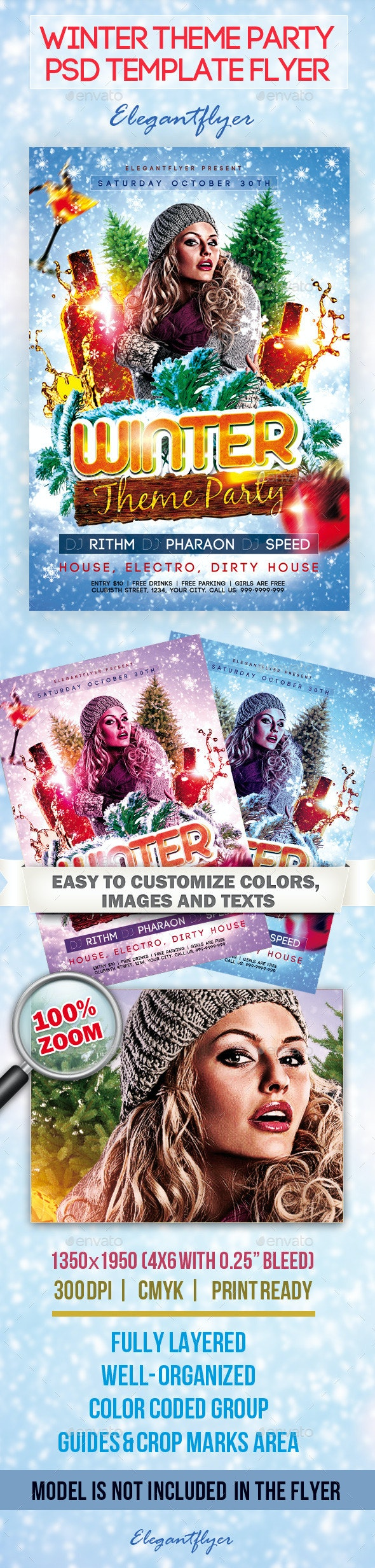Winter Theme Party - Flyer PSD Template - Clubs & Parties Events