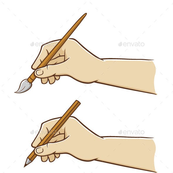 Hand Holding Pencil and Paint Brush
