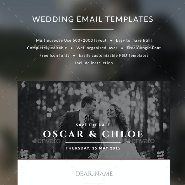 Email Wedding Invitation templates - Oscar