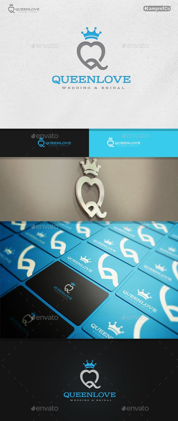 Crown Love Logo - Vector Abstract
