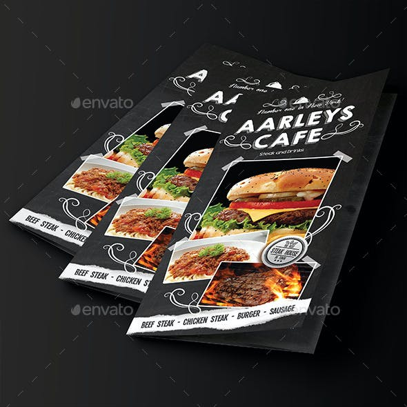 Blackboard Food Menu (Trifold) + Business Card