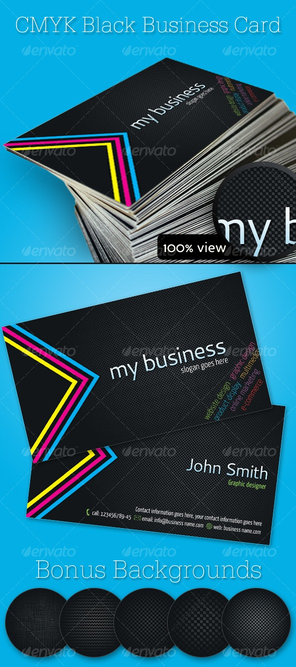 CMYK Black Business Card - Creative Business Cards