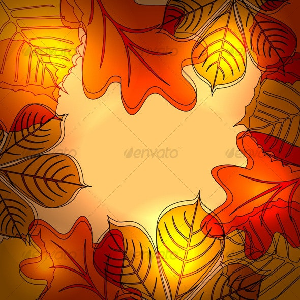 Abstract autumn bright background with leaves - Seasons Nature