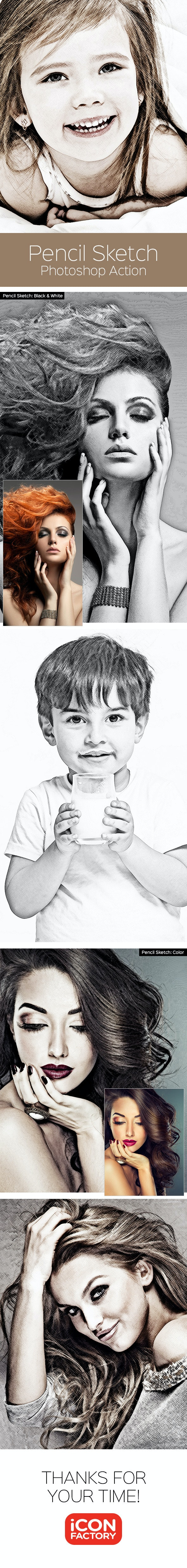 Pencil Sketch - Photoshop Action - Photo Effects Actions