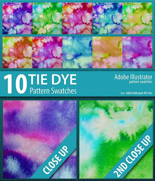 10 Tie Dye Pattern Swatches Vector - Artistic Brushes