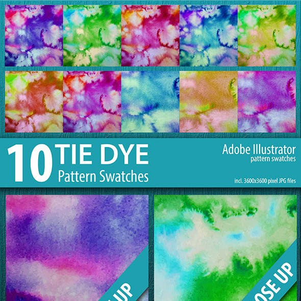 10 Tie Dye Pattern Swatches Vector