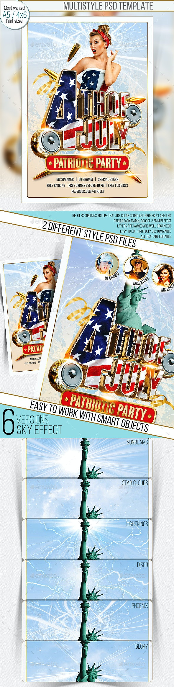 4th Of July Party Flyer. Multistyle - Clubs & Parties Events
