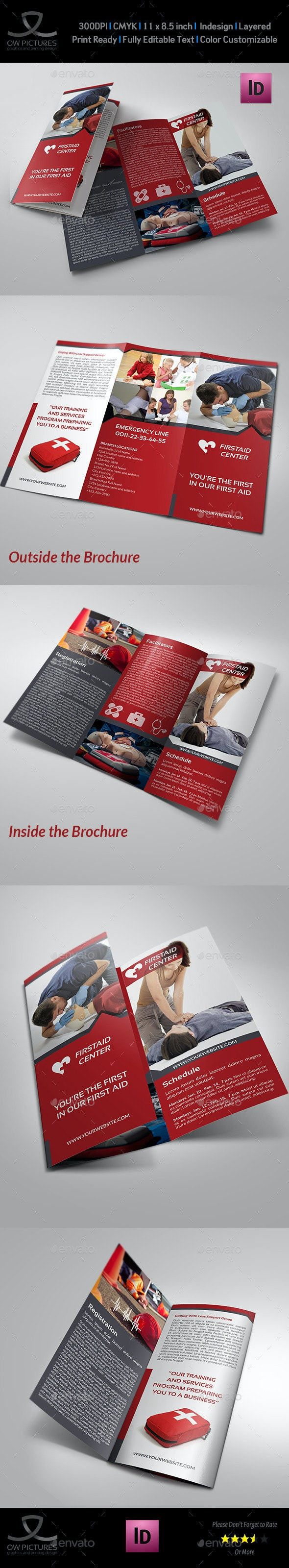 First Aid Training Tri-Fold Brochure Template - Informational Brochures
