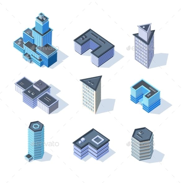 Isometric Business City Center Buildings