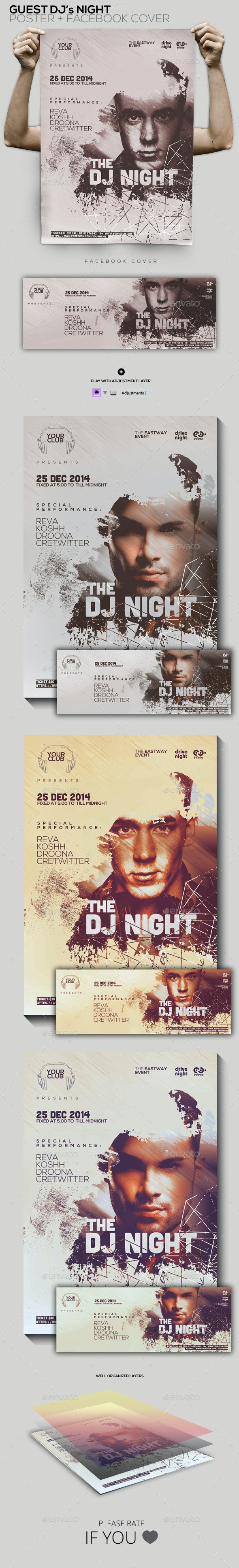 Guest Dj Party Poster/Flyer/Facebook Cover - Clubs & Parties Events
